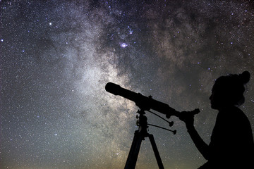 Woman and night sky. Watching the stars Woman with telescope. Fototapete