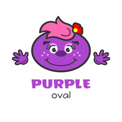Oval geometric shape vector illustration for kids. Cartoon purple oval character with face and hands for preschool or primary school children. Card with funny oval shape