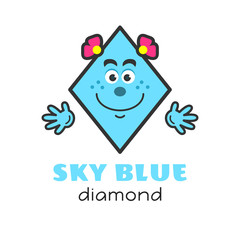 Diamond geometric shape vector illustration for kids. Cartoon sky blue diamond character with face and hands for preschool or primary school kids. Cards with funny shapes for activities with children