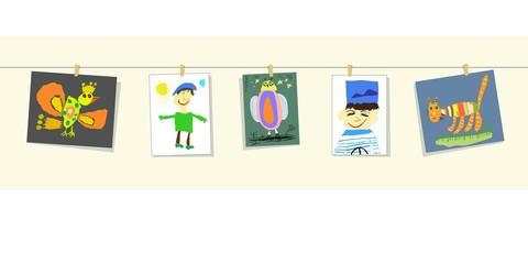 Иллюстрация с изображением цветных детских рисунков, развешанных на струне: птица, человек, сова, портрет моряка, кот.