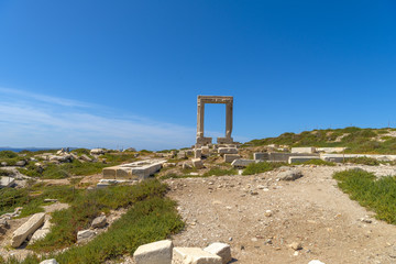 Ancient gate of Apollon temple (Portara) at the island of Naxos,