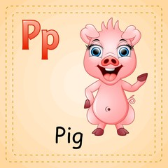 Animals alphabet: P is for Pig