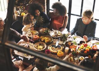 Kids Kissing Thanksgiving Dinner Celebration Concept