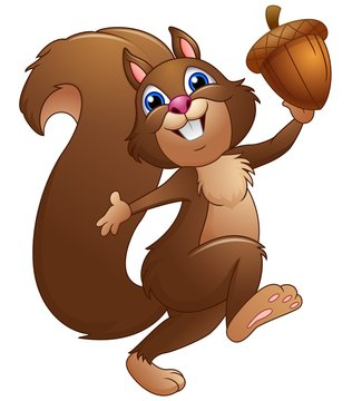 Happy cartoon squirrel holding acorn