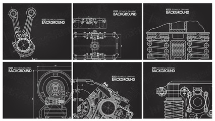 Set of black background with technical drawings