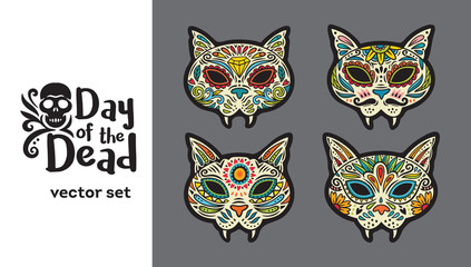 Greeting card with sugar skull cats. Traditional holiday in Mexico.