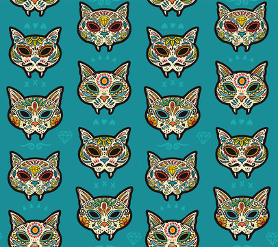 Sugar skull cats pattern. Mexican day of the dead.