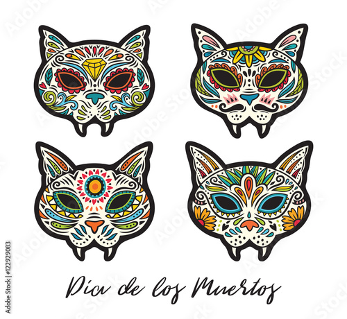 Greeting card with sugar skull cats traditional holiday in mexico greeting card with sugar skull cats traditional holiday in mexico m4hsunfo