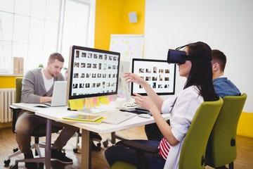 Executive enjoying augmented reality headset