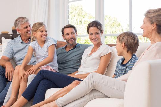 Happy generation family enjoying