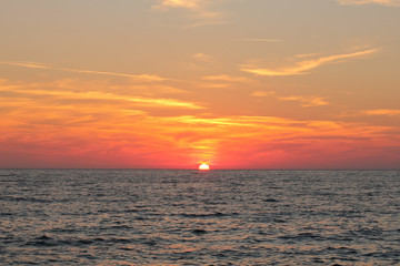 Beautiful orange sunset on the mediterranean sea.
