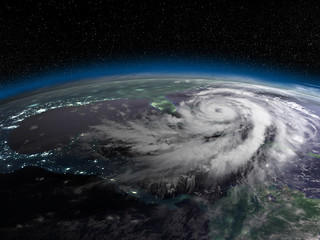 Hurricane from space at night