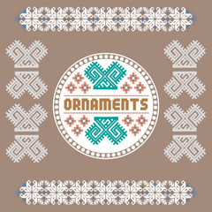 Vintage Nordic Ornament. Ethnic National Ornament. Retro Geometric Embroidery Swatch. Brown and White digital background vector illustration.