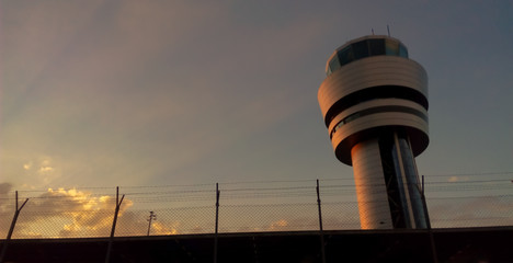 Airport control tower at sunset in Sofia, Bulgaria