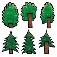 Set of six hand drawn detailed vector trees. Vector file, on white background. Grouped, ready to use.