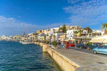 View of the port in Chora Naxos, Cyclades, Greece.