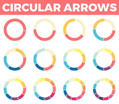 Thin circular arrows for infographics with 1 - 12 parts.