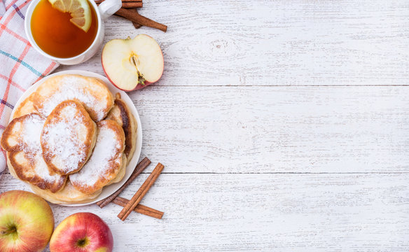 Homemade apple pancakes with cinnamon.