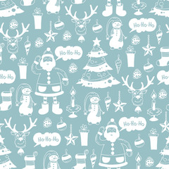 Pattern with hand drawn symbols of Merry Christmas, Happy New Year on gray color