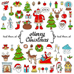 Vector set with hand drawn isolated colored doodles on the  theme of Merry Christmas, Happy New Year on white color