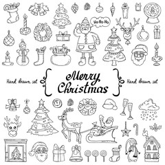 Vector set with hand drawn isolated doodles on the  theme of Merry Christmas, Happy New Year on white color