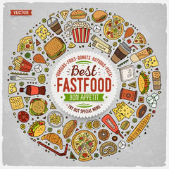 Set of Fast food cartoon doodle objects, symbols and items