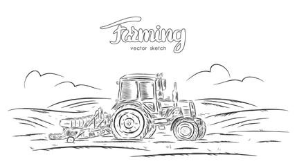 Vector illustration: Hand drawn  sketch with tractor on field.