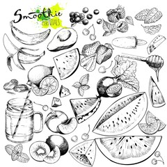 Vector big set of fruits and vegetables for detox smoothie. Hand drawn engraved monochrome elements.