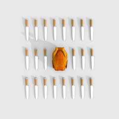 3d illustration rendering of multiple knives square grid with roasted chicken in the middle