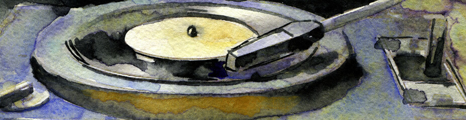 watercolor sketch of vintage record player on white background