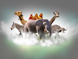 Wild animals group - giraffe, elephant, zebra above white clouds in gray sky