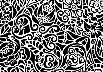 Black and white seamless floral pattern of pieces.