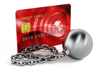 Ball and chain connected to credit card. 3d illustration