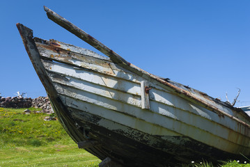 An old Salmon fishing boat at the small crofting village of Clachtoll, Assynt, Scotland