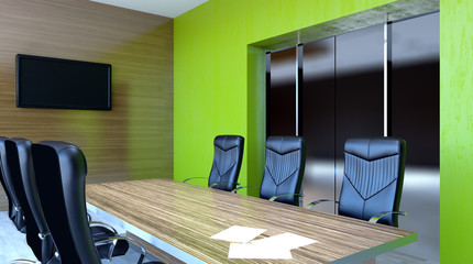 Meeting room. Winter morning. 3D rendering