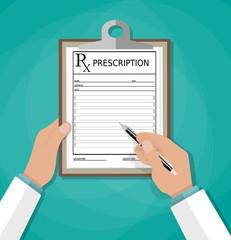 prescription. clipboard and pen, Rx form