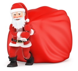 3D Santa Claus with huge sack of gifts