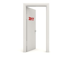 Door with 2017 New Year sign isolated on white