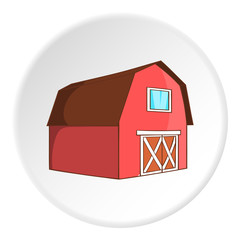 Barn for animals icon in cartoon style isolated on white circle background. Farm symbol vector illustration