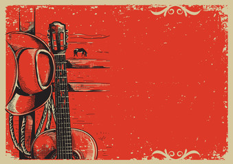 country music poster with cowboy hat and guitar on vintage poste