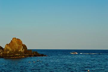 Big Rock in Sandy Beach in the Indian Ocean near Fujairah UAE