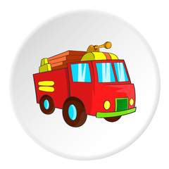 Fire truck icon in cartoon style isolated on white circle background. Transport symbol vector illustration