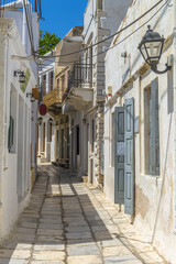 Narrow streets in the countryside of Naxos island, Cyclades, gre