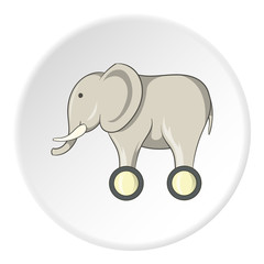 Toy elephant on wheels icon in cartoon style isolated on white circle background. Games and toys symbol vector illustration