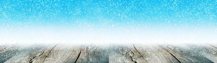 Winterzeit Panorama Hintergrund Banner Schnee fällt auf Holz