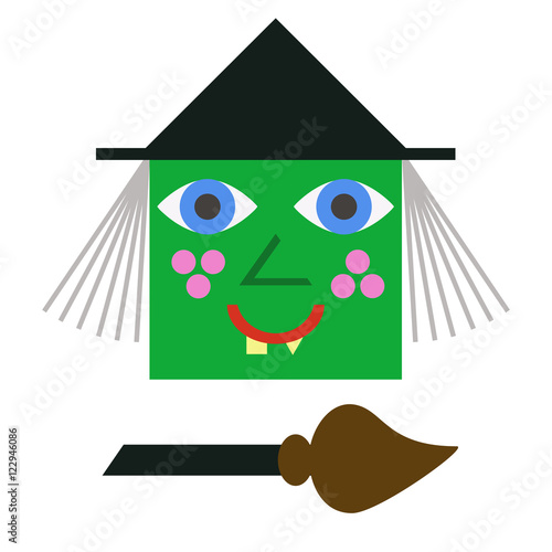 Halloween Cartoon Witch Face.Cartoon Witch Face Funny Green Witch Face Curves Of Yellow Teeth