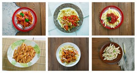 set of different  italian pasta Penne
