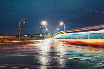 Crossroad in rainy night
