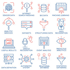 Vector set of 16 icons related to business and data management