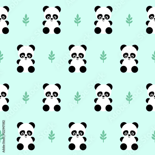 Panda With Leaf Seamless Pattern On Green Background Cute Design For Print Babys Clothes